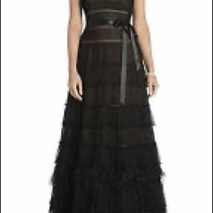 NWT BCBG Elise Point D'Esprit Feather Gown
